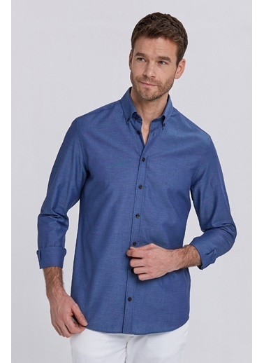 Hemington Saf Pamuk Oxford Gömlek Lacivert